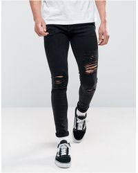 Jack & Jones Intelligence Liam Skinny Fit Ripped Jeans - Black