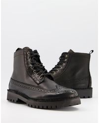 SELECTED Leather Brogue Boots - Black