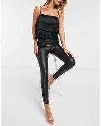 Miss Selfridge Leather Look High Waisted leggings - Black