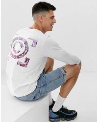 Jack & Jones Core - Langärmliges Shirt in Weiß mit Print hinten