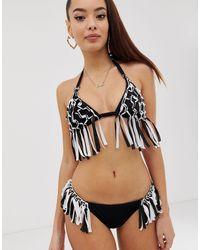 ASOS Macrame Fringed Triangle Bikini Top - Black
