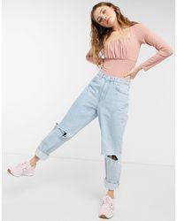 New Look Бледно-розовое Боди Со Сборками На Груди -розовый Цвет