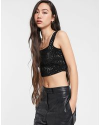 ONLY Vanessa Sequin Square Neck Crop Top - Black