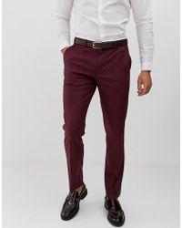 ASOS Slim Suit Trousers In Light Burgundy - Red