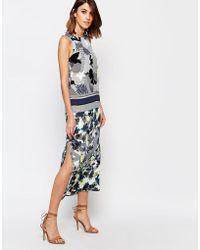 Warehouse Abstract Palm Print Midi Dress - Blue