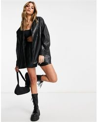 ASOS Leather Look Suit Shacket - Black