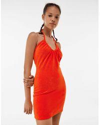 Bershka Красное Платье Мини Из Махровой Ткани С Завязкой На Шее -красный