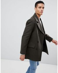 French Connection Wool Blend Double Breasted Pea Coat - Green