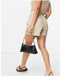 ASOS Black Croc Effect Shoulder Bag With Chunky Chain