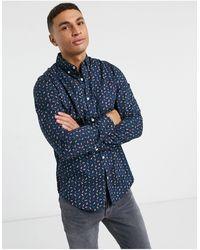 Original Penguin Рубашка С Длинным Рукавом С Геометрическим Принтом -темно-синий