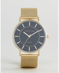 Christin Lars - Gold Round Watch With Black Dial - Lyst