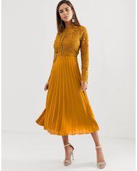 ASOS Long Sleeve Lace Bodice Midi Dress With Pleated Skirt - Orange