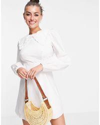 Fashion Union - Мини-платье С Присборенной Юбкой, Объемными Рукавами И Большим Воротником -белый - Lyst