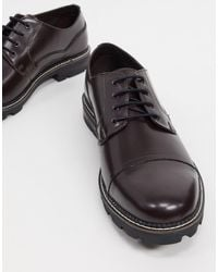 Ben Sherman Бордовые Кожаные Ботинки На Шнуровке С Рифленой Подошвой -красный - Черный