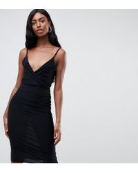 Missguided Slinky Lace Back Midi Dress In Black