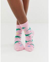 ASOS Rollerskating Dinosaur Ankle Socks - Pink