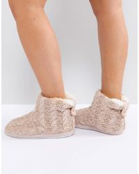 New Look Knitted Slipper Boot With Pom - Pink