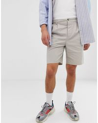 ASOS Relaxed Chino Shorts With Pleats In Beige - Multicolor