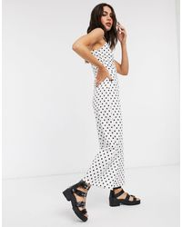 Bershka Ruched Front Strappy Jumpsuit - White