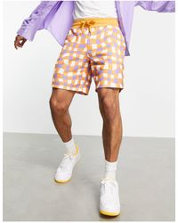 ASOS Co-ord Oversized Jersey Shorts With All Over Check Print - Multicolour