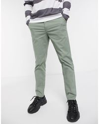 SELECTED Organic Cotton Straight Fit Chino Pants - Green