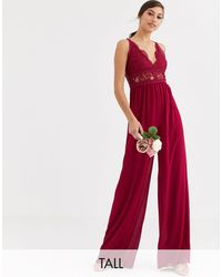 TFNC London Bridesmaid Jumpsuit With Lace Inserts - Red