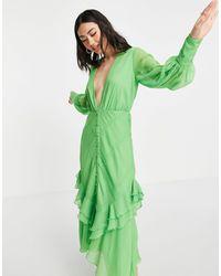 ASOS Vestido midi escotado - Verde