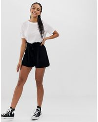 ASOS Shorts With Paperbag Waist And Tie - Black
