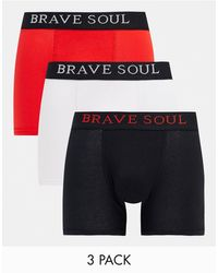 Brave Soul 3 Pack Boxers With Contrast Waistband-multi - Multicolour