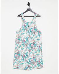 Monki - Джинсовое Платье Миди Из Органического Хлопка С Цветочным Принтом На Пуговицах Maria-разноцветный - Lyst