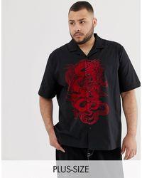 Jaded London Chemise à imprimé dragon avec col à revers - Noir