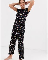 Monki Eyes Print Pyjama Set - Black