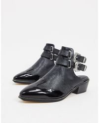 Senso Leather Western Buckle Heeled Shoes - Black
