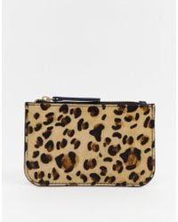 Urbancode - Leather Coin Purse With Card Holder In Leopard - Lyst