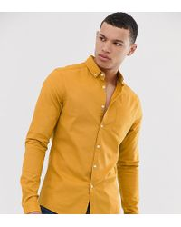 ASOS Skinny Casual Oxford Overhemd In Mosterdgeel