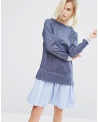I Love Friday - 2 In 1 Sweater Dress With Stripe Hem Shirt Layer - Lyst