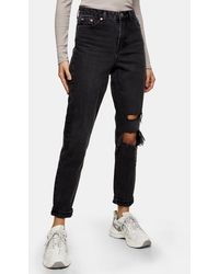 TOPSHOP - Mom Jeans With Rips - Lyst