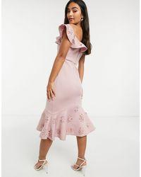Chi Chi London Robe mi-longue à volants style Bardot - Rose