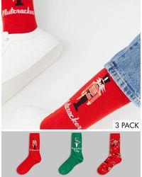ASOS 3 Pack Holidays Socks With Nutcracker Design - Red