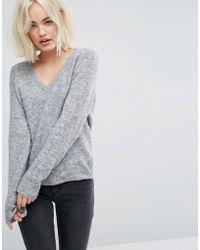 Lee Jeans Slouchy V Neck Knit - Gray