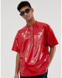 ASOS Rotes Oversize-T-Shirt aus Vinyl mit Reißverschluss
