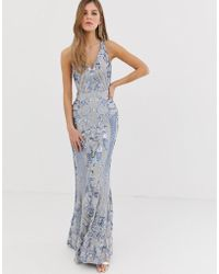 Bariano - Embellished Patterned Sequin Strappy Back Maxi Dress In Silver - Lyst