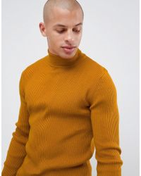 845c67a1dc2 Muscle Fit Ribbed Roll Neck Jumper In Mustard - Yellow