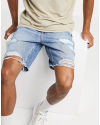Bershka Slim Denim Shorts With Rips - Blue