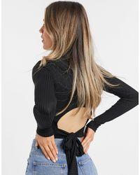 New Look Tie Back Top - Black
