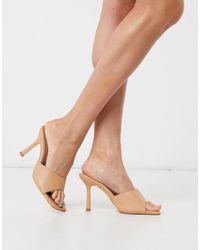 Public Desire Harlow Square Toe Mule Sandals - Natural
