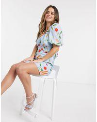Finders Keepers Calypso Fruitbowl Mini Dress - Blue