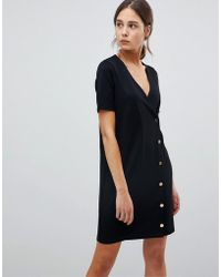 e7ab89a9482 Lyst - ASOS Asos Denim Belted Shirt Dress In Washed Black in Black