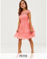 Chi Chi London – Hochwertiges Spitzen-Minikleid mit Muschelausschnitt - Pink