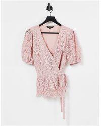 Lipsy - Розовый Кружевной Топ С Запахом -розовый Цвет - Lyst